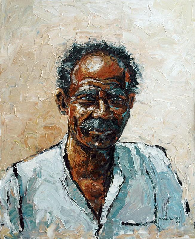 Portrait de ram peinture huile sur canevas portrait technique couteau