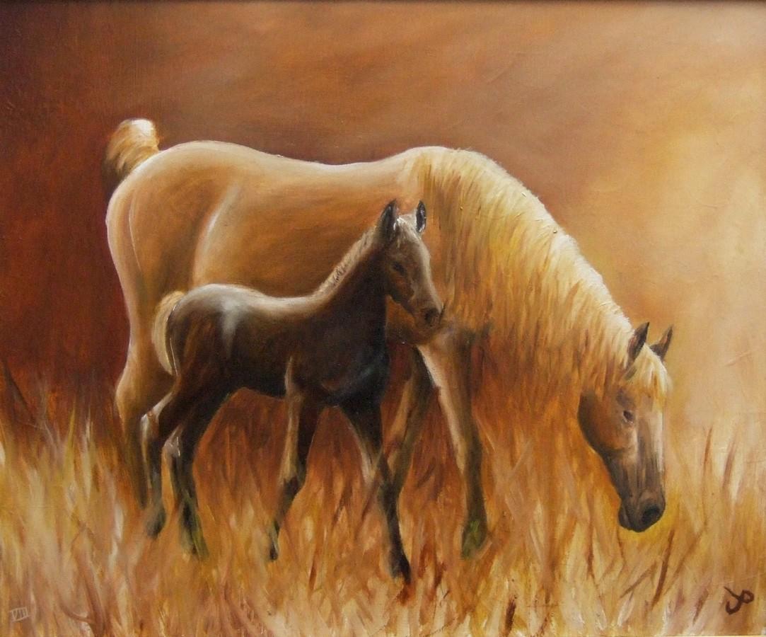 Galerie jument et poulain artwindow for Peinture sur fer a cheval